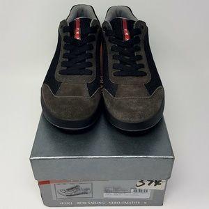 PRADA Rete Sailing 4E2501 Black Gray Sneaker Sz 10